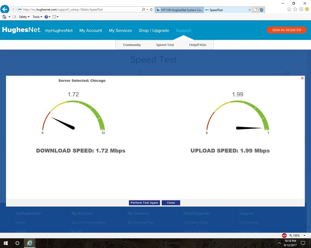 Very slow Speeds Between 8pm and 12am - HughesNet Community - 83320