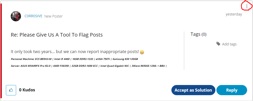 How to flag inappropriate posts