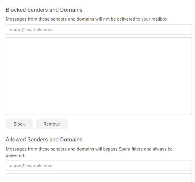 Block or allow specific senders