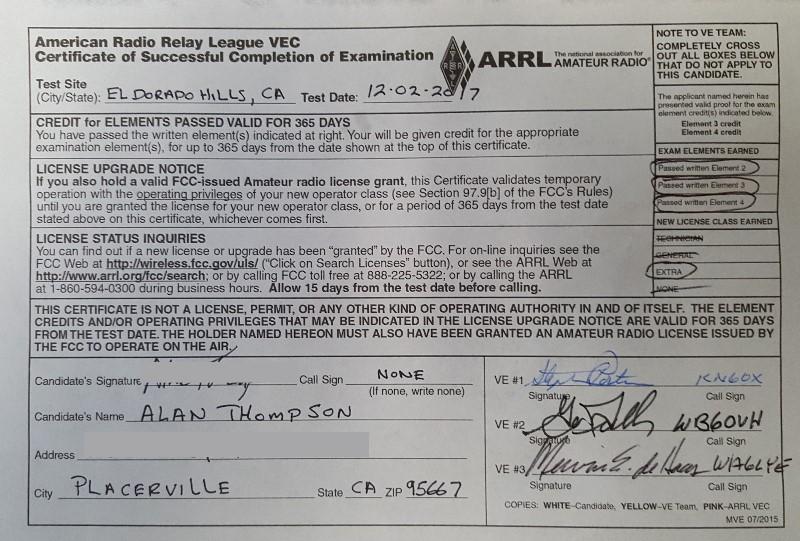 AJ6AR exam certificate